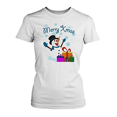 Fashionalarm Damen T-Shirt - Merry Xmas Schneemann | Fun Shirt als Geschenk Idee Weihnachten Heiligabend Nikolaus Weiß