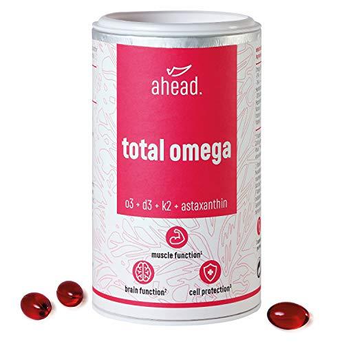 ahead® TOTAL OMEGA | Omega 3 Fischöl Kapseln hochdosiert | 2250mg pro Tagesdosis mit Vitamin D3 + K2 + Astaxanthin + Pfefferminzöl | 90 Kapseln | Frei von Schadstoffen | Hergestellt in Deutschland