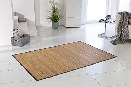 Bambusteppich HONEY ca. 200x300 cm, 11mm gehärtete Stege, filigrane Bordüre, massives Bambus | Bordürenteppich | Teppich | Wohnzimmer | Küche | Markenprodukt von DE-COmmerce | nachhaltig und ökologisch