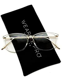 cced576f80c WearMe Pro - Rectangular Elegant Metal Gold Temple Square Clear Glasses