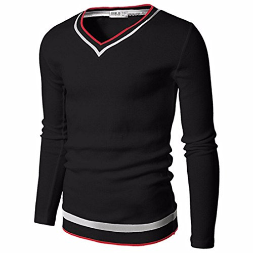 Men's Striped V-neck Slim Fit Solid Pullovers Casual Sweatshirts Black