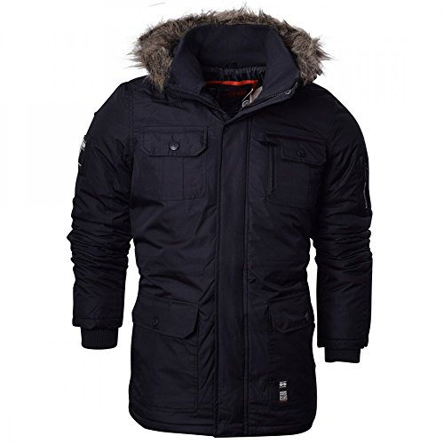 Crosshatch Mens Heavy Weight Fur Hood Parka Padded Waterproof Winter Coat Jacket Black Blue XX Large Black - Armour