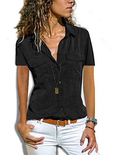 Damen Bluse Button Down Basic Kurzarm Tops T-Shirt Stretch Baumwolle Hemdbluse Business Blusen fürs Büro -