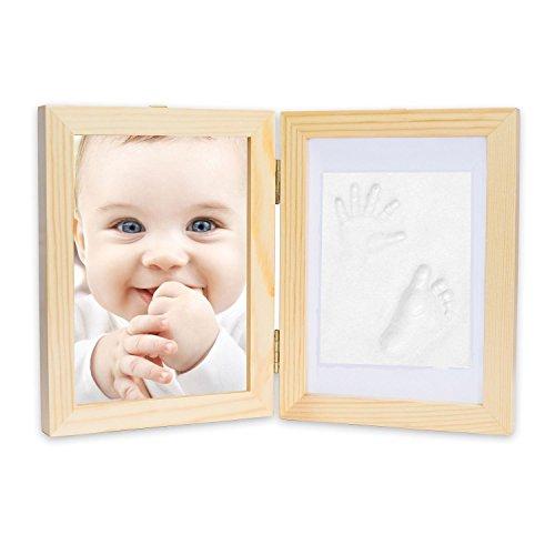 Babyprints recién nacido bebé Handprint y huella Kit de Marco de fotos con un incluye clean-touch almohadilla de tinta de crear impresiones de la bebé-un perfecto Baby Shower regalo de madera (precio: 18,70€)