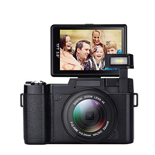 Digitalkamera,24,0 MP Nachtsicht-Camcorder 3,0 Zoll 180 ° drehbare Bildschirmkamera Vlogging-Kamera Digitalzoom-Kamera Video mit Blitzlicht HD 1080P Digital-Camcorder