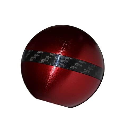 8x1.25MM RED ROUND Ball SHIFT KNOB with CARBON FIBER RING Billet Aluminum MANUAL AUTOMATIC Transmission Shift Stick Selector (Threaded - NO Adapters) for Mazda Mazdaspeed 3 6 CX-7 i S Grand Touring MX-5 Miata Sedan Hatchback Convertible SV Sport (other cars with 8x1.25mm Thread)