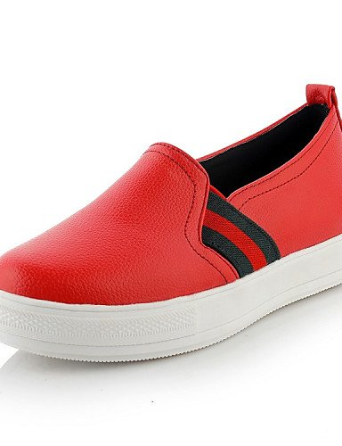 ZQ gyht Scarpe Donna - Mocassini - Tempo libero / Casual / Sportivo - Punta arrotondata - Piatto - Finta pelle - Nero / Rosso / Bianco , red-us10.5 / eu42 / uk8.5 / cn43 , red-us10.5 / eu42 / uk8.5 /  white-us5.5 / eu36 / uk3.5 / cn35