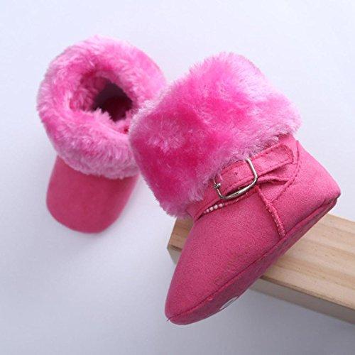 Hunpta Niedliche Baby neugeborenes Baby erste Walker Kleinkind Wohnungen Boot Schuhe aus Baumwolle (Alter: 6-8 Monate, Hot Pink) Hot Pink