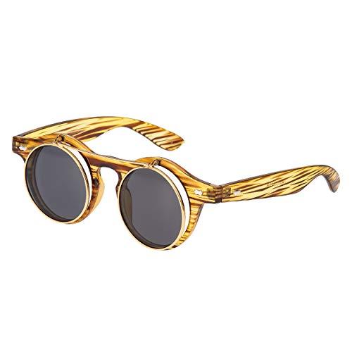 Ultra Holz-Effekt Flip Up Ronde Steampunk Sonnenbrille Retro Frau Mann UV400 UVA UVB Vintage Victorian Kreis Retro Brille