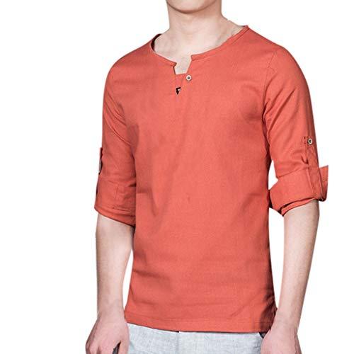 FiveFeed Shirt Leinen Blusen Elegant Langarm Freizeit Oberteil Herren T-Shirt Retro Baumwolle Leinen Hemd Casual Herren Sommer T-Shirt Rundhals-Ausschnitt Slim Fit blusen Hemd