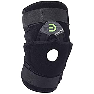 DISUPPO Open-Patella Compression Knee Support for Men Women, Best Adjustable Knee Brace for ACL, Stability Joint, Arthritic Knee, Sports Injury Recovery & Protection, Exercise/Gym/Walking(Black,L) …