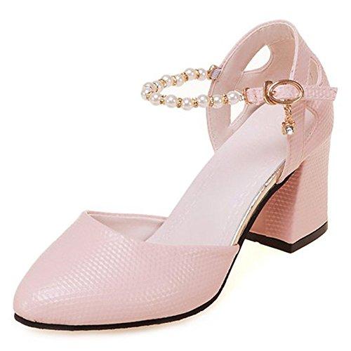 Cadono per Tacco Primavera Rosa Bianco Donna Rosa DIMAOL Comfort Tacchi Scarpe Chunky PU Esterno 8qInwptz