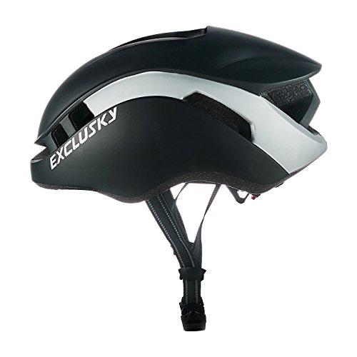 Exclusky Casco da Bicicletta Protezione Professionale Sicurezza per Uomo Donna Adulti Taglia Regolabile 56-61cm (Nero)