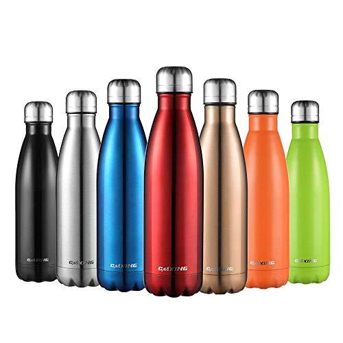Cmxing Doppelwandige Thermosflasche 500 mL mit Tasche BPA-Frei Edelstahl Trinkflasche Vakuum Isolierflasche für Outdoor-Sport Camping Mountainbike (Rot, 500 mL) -