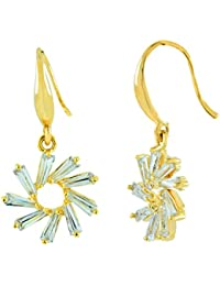 The Jewelbox Flower Baguette Cz American Diamond Gold Plated Daily Wear Earring For Women