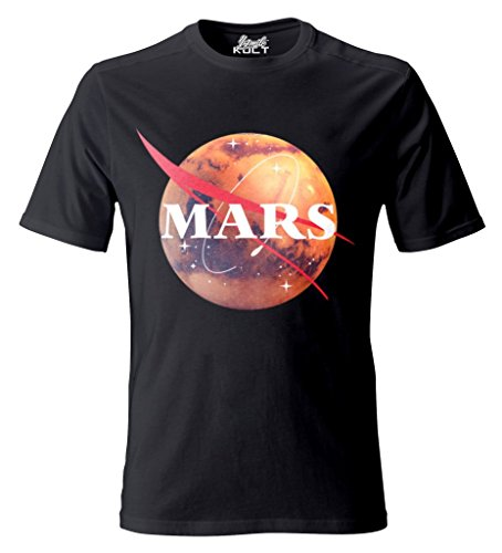 1/4 MILE KULT CLOTHING Unisex T-Shirt Mars/NASA The Red Planet Original Vector Design Space Exploration (L, - Red Shirt Trek Star