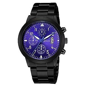 Armbanduhr Damen Ronamick Luxus Quarz Sport Military Edelstahl Zifferblatt Lederband Quarzuhr Armbanduhr Armband Uhr Uhren (A)