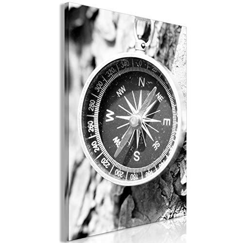 murando - Bilder Kompass 40x60 cm Vlies Leinwandbild 1 TLG Kunstdruck modern Wandbilder Wanddekoration Design Wand Bild - schwarz weiß grau Reise n-A-0803-b-a -