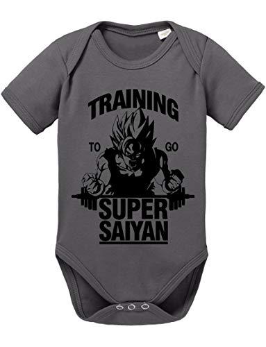 Goku SS Dragon Son Baby Ball Strampler Bio Baumwolle Body Jungen & Mädchen 0-12 Monate, Größe:80/10-12 Monate, Farbe:Dunkel Grau