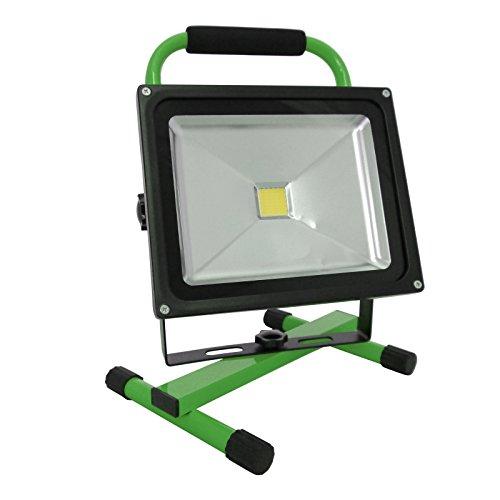 Grafner® Akku-Baustrahler LED 20 Watt 1600 LM 4400 mAh 6000K 2x Ladegerät (230V Ladegerät und KFZ-Ladegerät) Strahler Fluter Akku Lampe Campinglampe Flutlicht (grün)