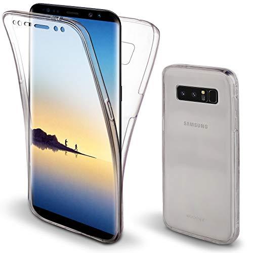 Moozy 360 Grad Hülle für Samsung Note 8 - Vorne und Hinten Transparenter TPU Ultra Dünn Weiche Silikon Handyhülle Case für Samsung Galaxy Note8