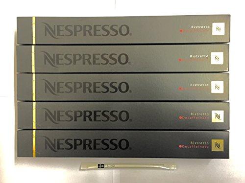 Get 50 Nespresso Ristretto Decaffeinato Coffee Capsules Inc 1 Stick Of Nespresso White sugar by NESPRESSO