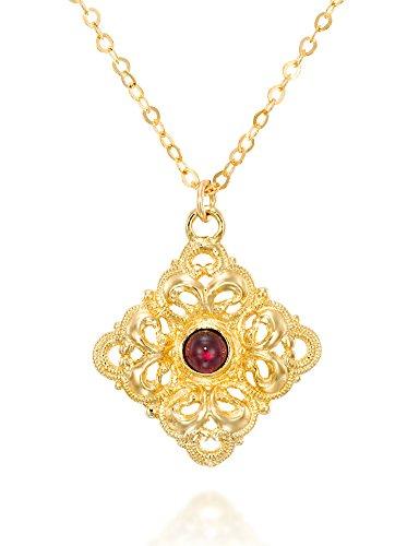Antik Stil Filigran Design Diamant Form Granat Anhänger 14K Gold plattiert Halskette, 45,7cm + 10,2cm - Halskette Diamant-schmuck