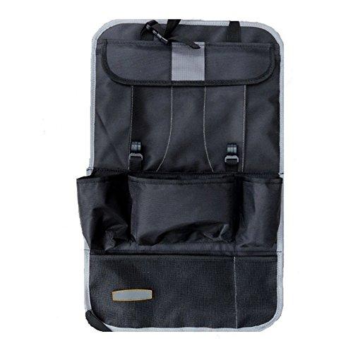 XFAY Rücksitztasche Utensilientasche mit vielen Zusatztaschen zur Ordnung und zum Schutz der Autositze ( Schwarz + Grau Rand )