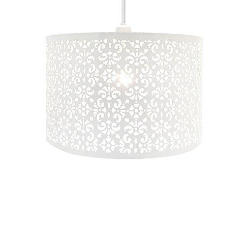 Lustre chic de plafond, suspension abat-jour gouttelettes transparentes facile à installer, Métal, blanc, LARGE METAL SHADE WHITE
