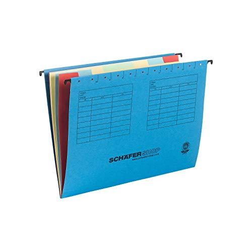 SCHÄFER SHOP Hängemappe Fächermappe, DIN A4, Karton, 9 Fächer, blau, 5 Stück