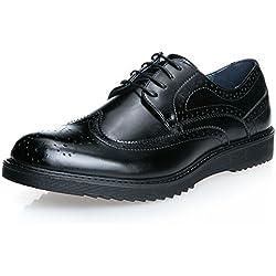 MForshop scarpe UOMO francesine parigine stringate ELEGANTe festa cerimonia nero IA1506 (44, nero)