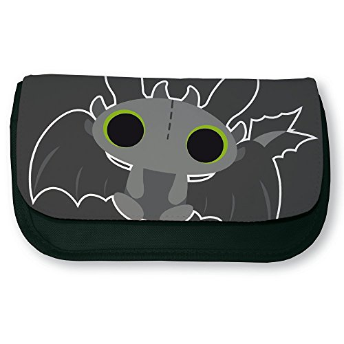 Trousse noir de maquillage ou d'école Dragon Krokmou Chibi et Kawaii by Fluffy chamalow - Fabriqué en France - Chamalow shop
