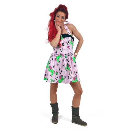Preisvergleich Produktbild Hell Bunny Rockabilly Mini Neckholder Kleid mit Einhörnern und Skulls pink 50ziger Jahre Kleid - L