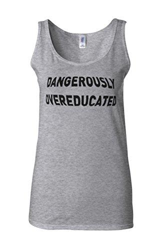 Dangerously Overeducated Novelty White Femme Women Tricot de Corps Tank Top Vest Gris Sportif