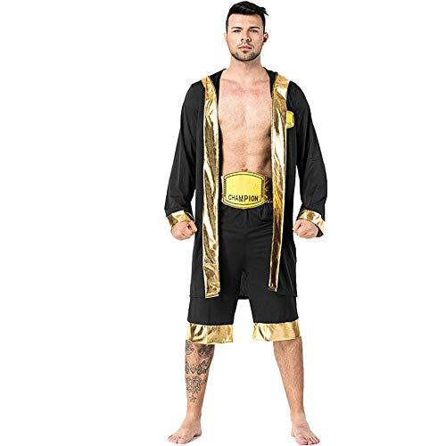 Herren Halloween Boxer Kostüm Adult Boxing Champion Kostüm KnockOut Hooded Boxer Robe