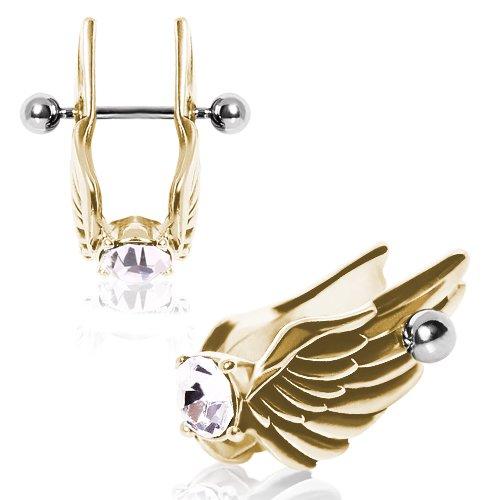 1 x klarer Kristall vergoldete Feder Engel Flügel Helix 1,2 x 12 mm Chirurgenstahl Tragus/Knorpel Oberohr Ohrring Muschel Barbell Stud Bar Piercing Schmuck