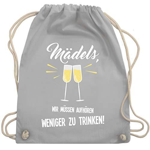 Kostüm Trinken - JGA Junggesellinnenabschied - Mädels, wir müssen aufhören weniger zu trinken - Unisize - Hellgrau - WM110 - Turnbeutel & Gym Bag