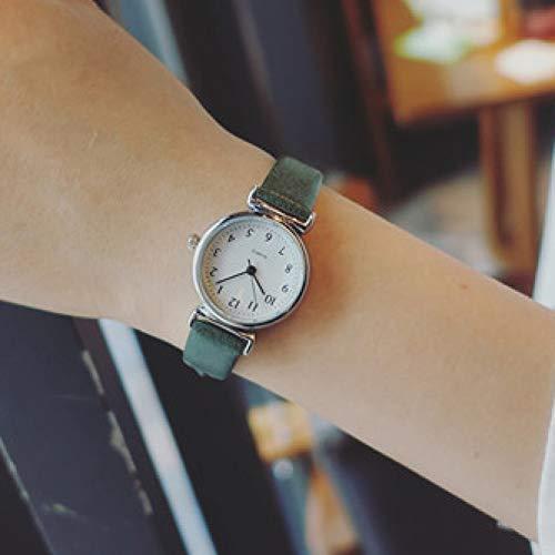 FDIJM Kleine Zifferblatt Vintage Leder Uhr Frauen Einfachheit Nummer Skala Weiblichen Armband Armbanduhren Mode Frau Uhr, Grün