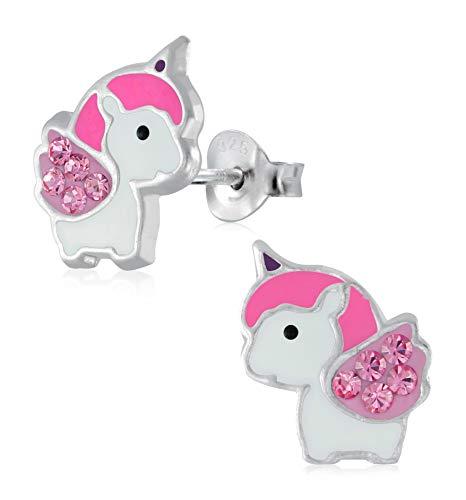 Laimons Mädchen Kinder-Ohrstecker Ohrringe Kinderschmuck Einhorn Stecker rosa mit Glitzer Sterling Silber 925