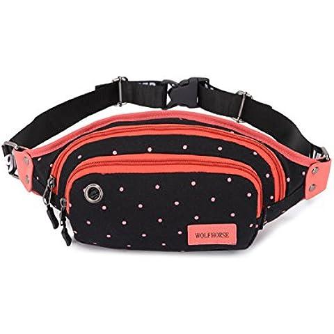 Portafogli donna/Borsa tela sportiva/Pack di petto/Borsa a tracolla (Bianco Bagagli Petto)