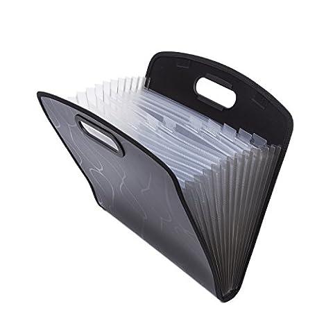 Erweiterbar Portable Handheld Akkordeon Datei Dokument Ordner Datei Organizer A4und Buchstabe Größe 13Taschen A4-Format schwarz