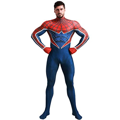 Kostüm Für Erwachsenen Spiderman Bodysuit - JUFENG Spider-Man All-Inclusive-Strumpfhosen Cosplayen 3D Spandex Lycra Drucken Bodysuit,B-Child+XS