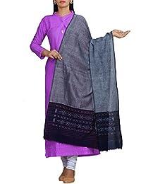 Unnati Silks Women Grey Pure Handloom Ikat Sambalpuri Cotton Dupatta With Weaving And Ikat Woven Border From The...