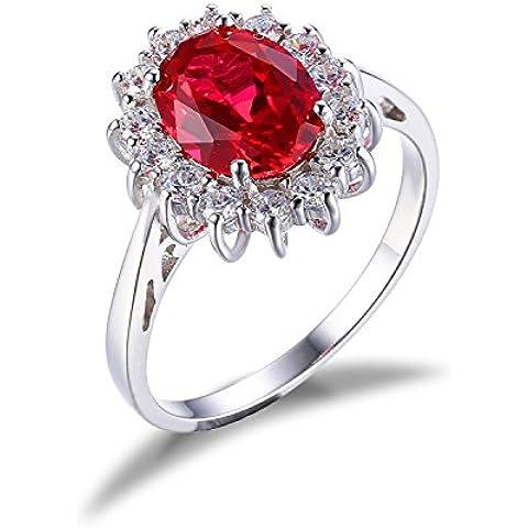 JewelryPalace Donna Gioiello 3.2ct Creato Rosso Rubino Principessa Diana William Kate Middleton Anello di Fidanzamento Matrimonio in 925 Argento Sterling