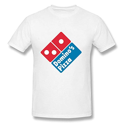 Herren Casual Domino's Pizza Tee Shirts Tshirt Kurzarm Rundhals Baumwolle T-Shirt Fitness Tops Plus Size Weiß 2XL (Bekleidung Pizza Dominos)