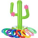 Blulu Conjunto de Juego de Lanzamiento de Anillos Incluye 1 Cactus Inflable, 8 Anillas Inflables de Color para Juegos de Fiesta de Piscina (9 Piezas, Estilo 1)
