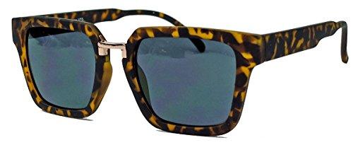 60er Jahre Styler : Herren Retro Sonnenbrille trapezförmig Flat Top Rahmen TR30 (Hornbrille matt)