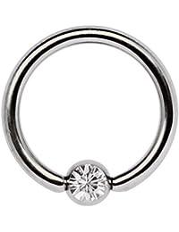 Titan Piercing Schmuck Ring 1,6 x 9 mm mit Zirkonia Kugel in klar