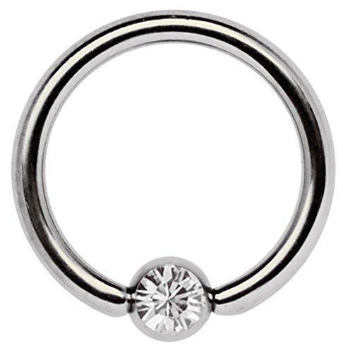 Titan Piercing Schmuck Ring 1,6 x 8 mm mit Zirkonia Kugel in klar Zirkonia Ringe In Titan