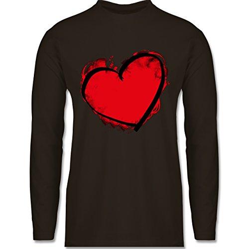 Shirtracer Love - Herz Gemalt - Herren Langarmshirt Braun